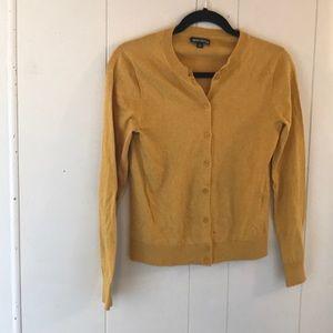 J CREW MERCANTILE mustard yellow cardigan small